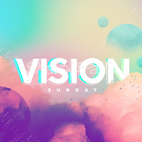 Vision Sunday Bright and Colorful Church Service Social Media Graphics