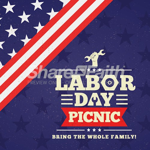 Labor Day Picnic Church Social Media Graphic