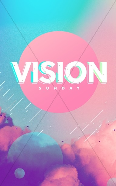 Vision Sunday Bright and Colorful Church Service Bulletin