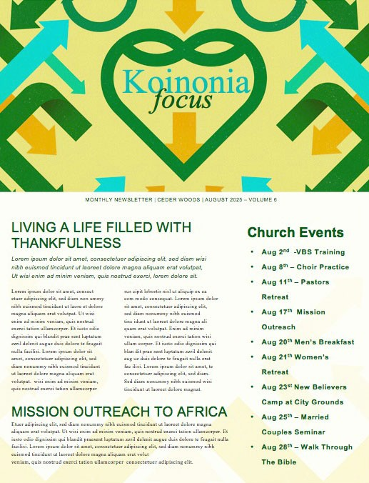 Be Rich Church Sermon Newsletter