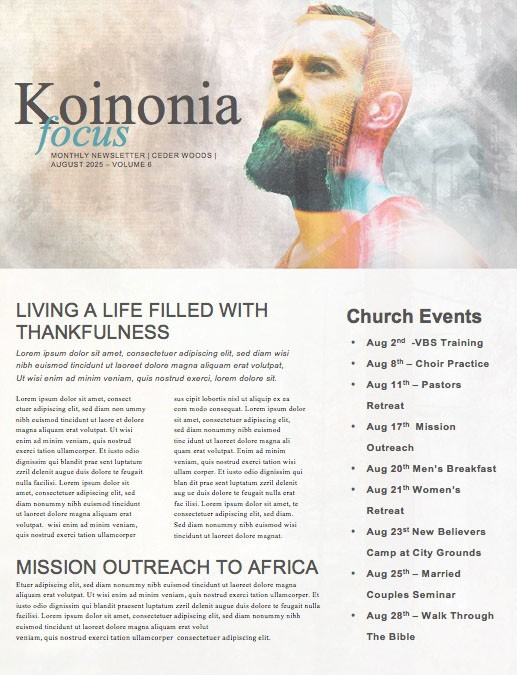 Man to Man Church Sermon Newsletter