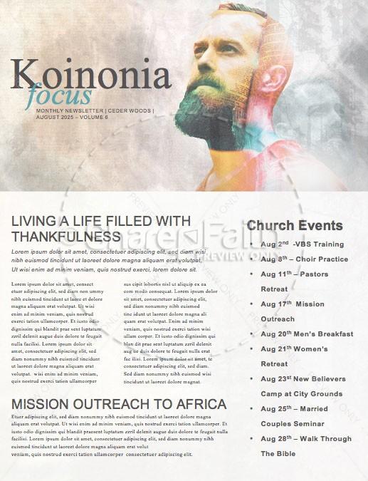 Man to Man Church Sermon Newsletter | page 1