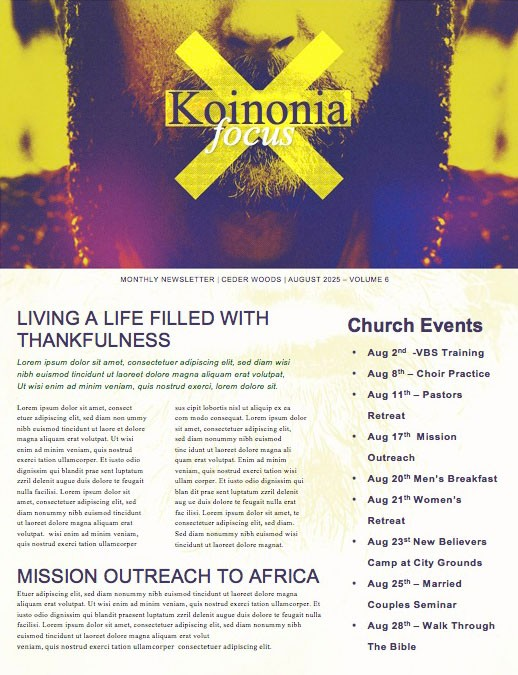 Taboo Church Newsletter Template