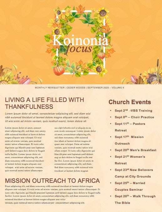 Harvest Party Church Newsletter