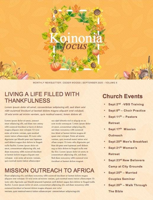 Harvest Party Church Newsletter