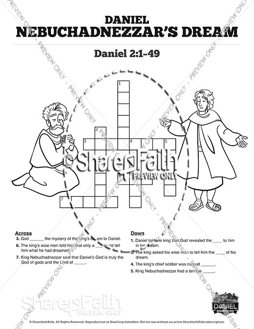 Daniel 2 Nebuchadnezzar's Dream Sunday School Crossword Puzzles