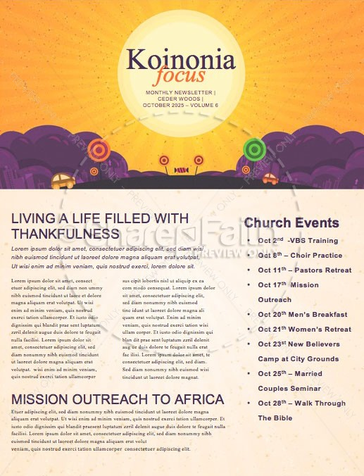 Trunk or Treat Church Newsletter | page 1