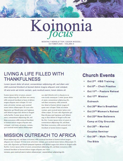 Pastor Appreciation Church Newsletter