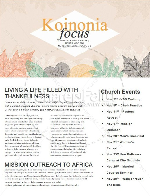 Autumn Festival Church Sermon Newsletter