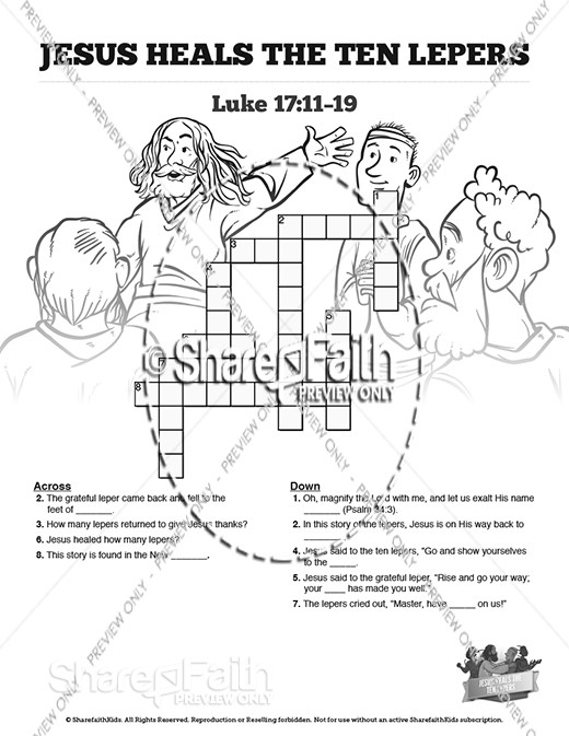 Luke 17 Ten lepers Sunday School Crossword Puzzles