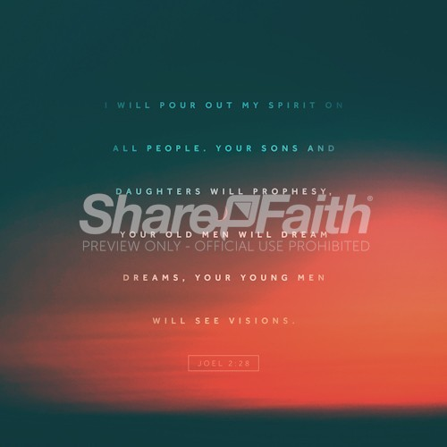 Joel 2:28 Visions Bible Verse Orange Social Media Graphic
