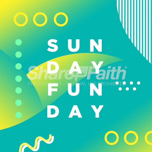 Sunday Fun Day Bright Colors Social Media Graphic