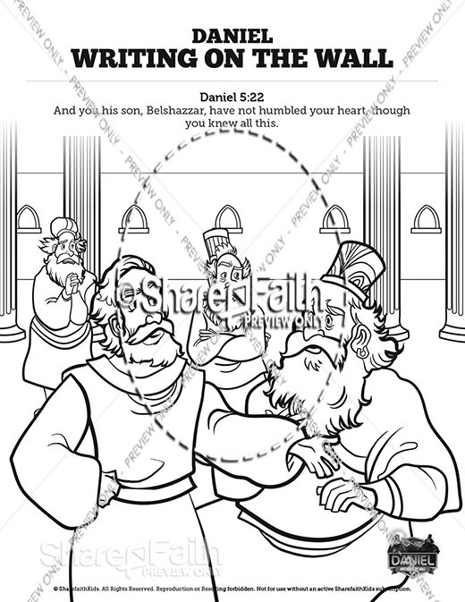 Daniel 5 Writing On The Wall Sunday School Coloring Pages
