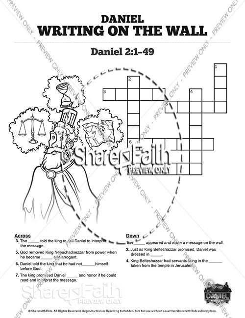 Daniel 5 Writing On The Wall Sunday School Crossword Puzzles