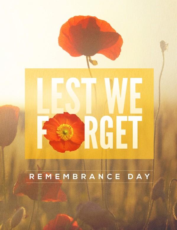 Lest We Forget Poppy Flyer