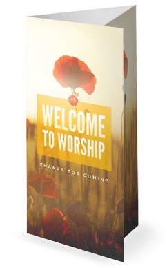 Welcome To Worship Poppy Trifold Bulletin