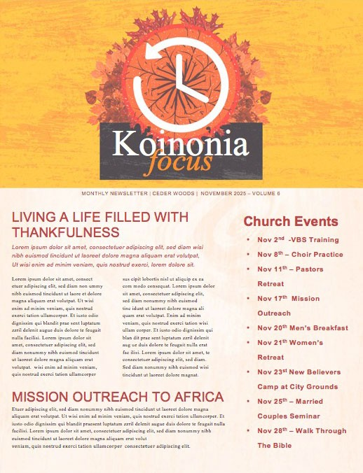Fall Back Daylight Savings Church Newsletter