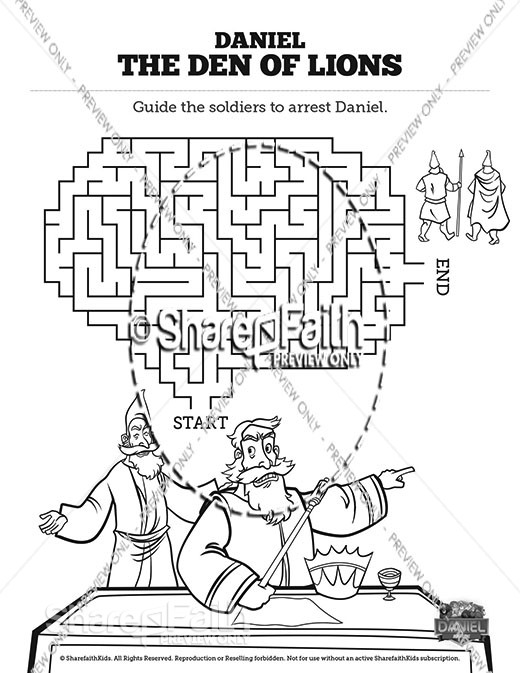 Daniel 6 Den of Lions Bible Mazes