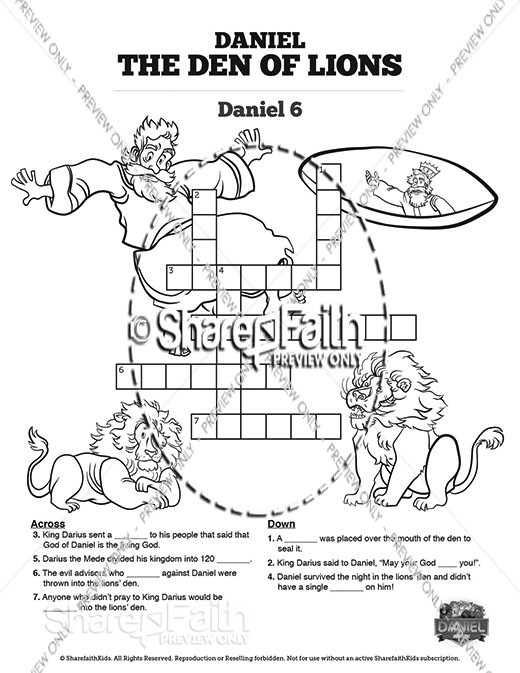 Daniel 6 Den of Lions Sunday School Crossword Puzzles