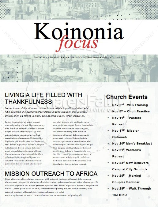 Mission Minded Church Newsletter