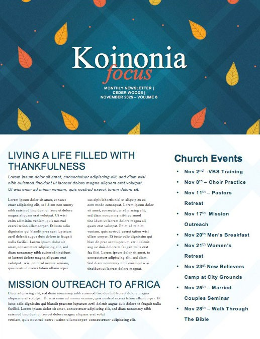 Celebrating Our Blessings Thanksgiving Church Newsletter