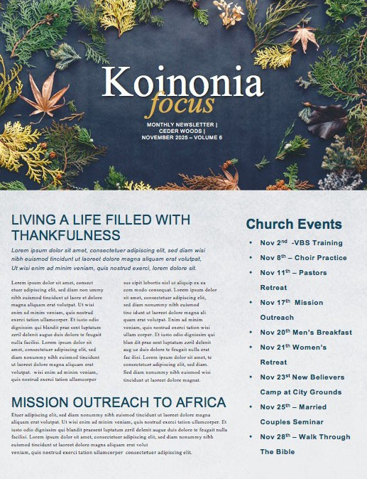 Celebrate Thanksgiving Together Church Newsletter