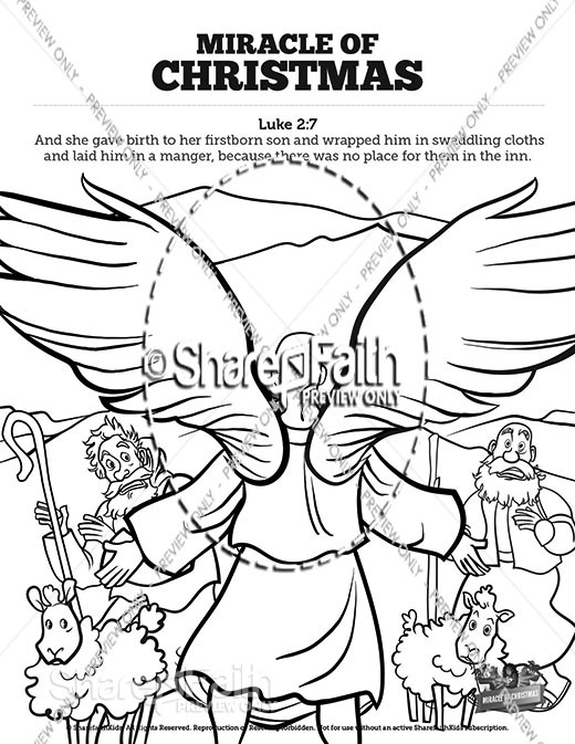 Luke 2 The Miracle of Christmas Sunday School Coloring Pages