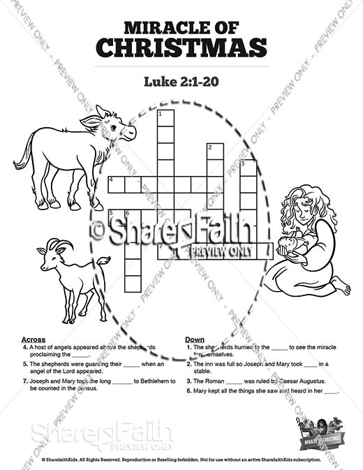 Luke 2 The Miracle of Christmas Sunday School Crossword Puzzles