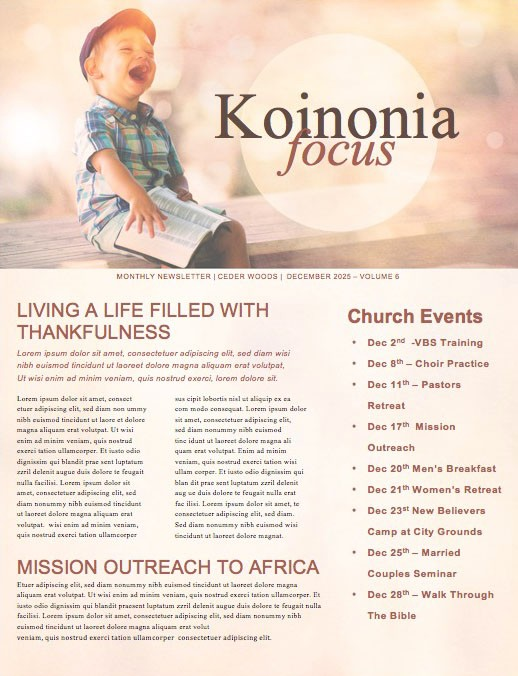 Faith Like A Child Church Newsletter