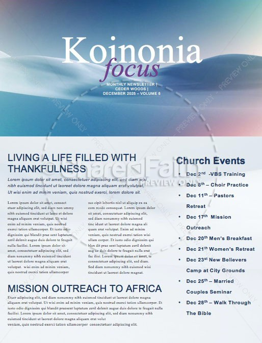 Peace On Earth Church Newsletter