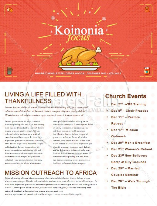 Holiday Food Drive Church Newsletter
