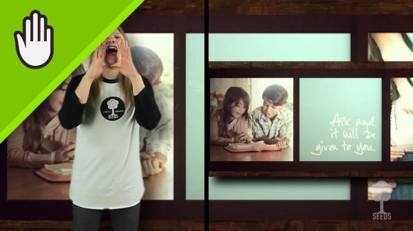 Ask Seek Knock Worship Video for Kids Hand Motions Split Screen
