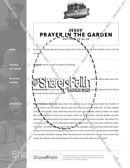 Matthew 26 Prayer in the Garden Curriculum