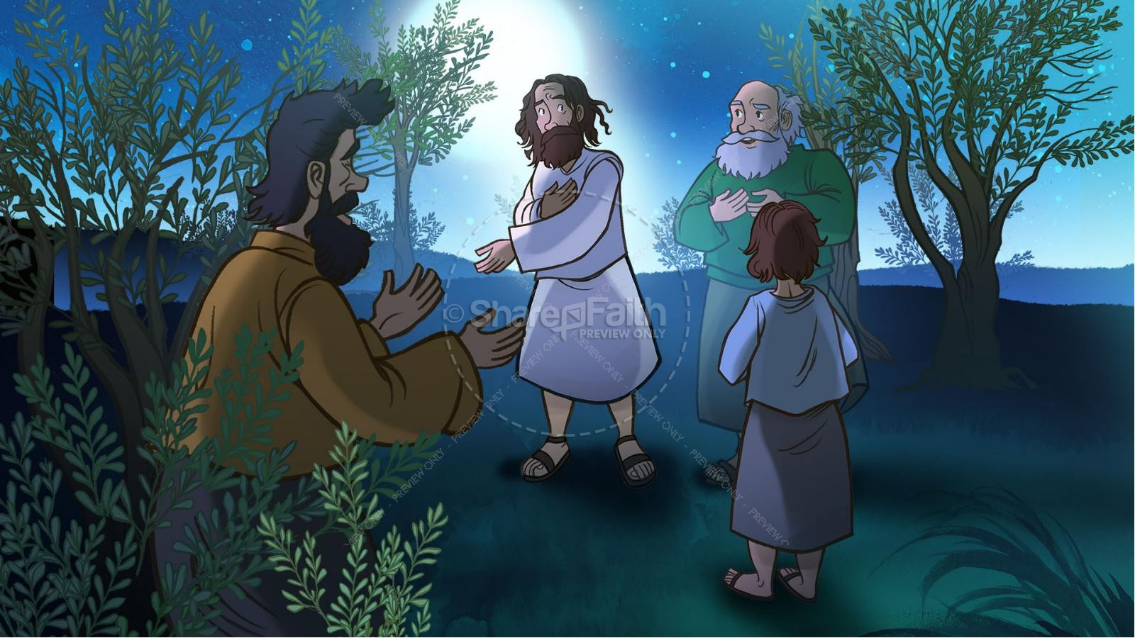 Matthew 26 Prayer in the Garden Kids Bible Story | slide 3