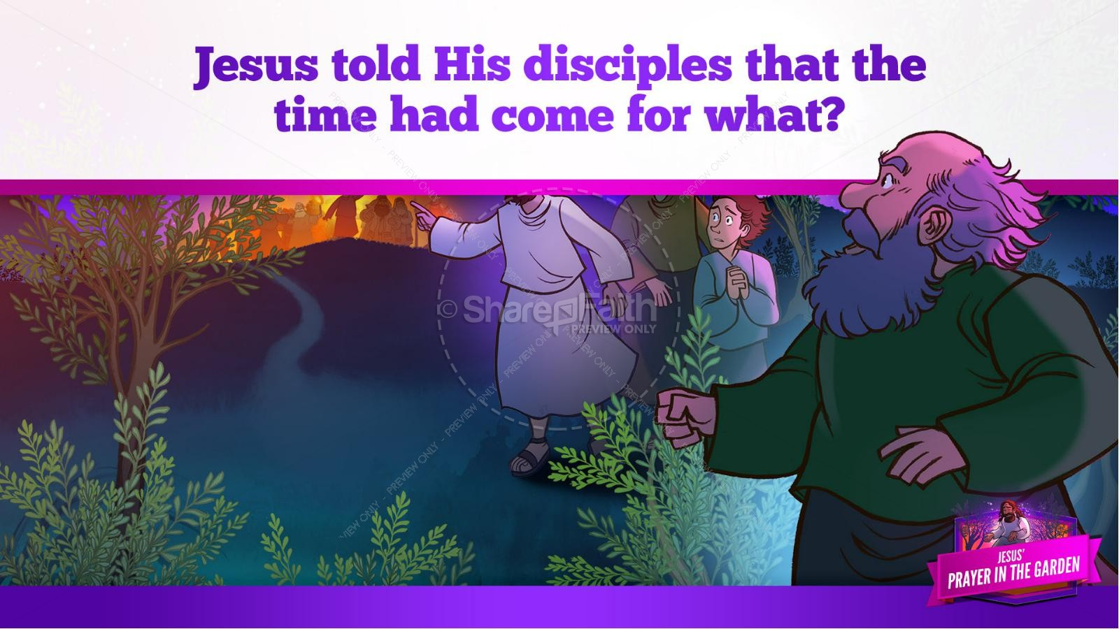 Matthew 26 Prayer in the Garden Kids Bible Story | slide 35