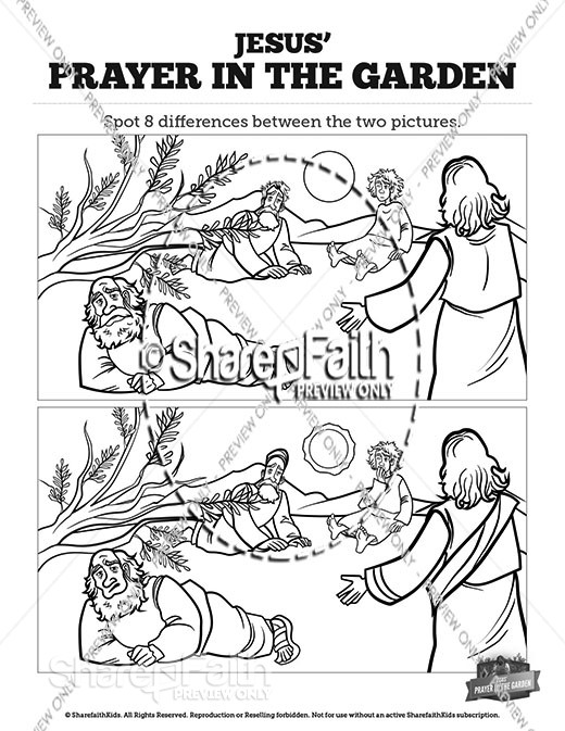 Matthew 26 Prayer in the Garden Spot the Differences