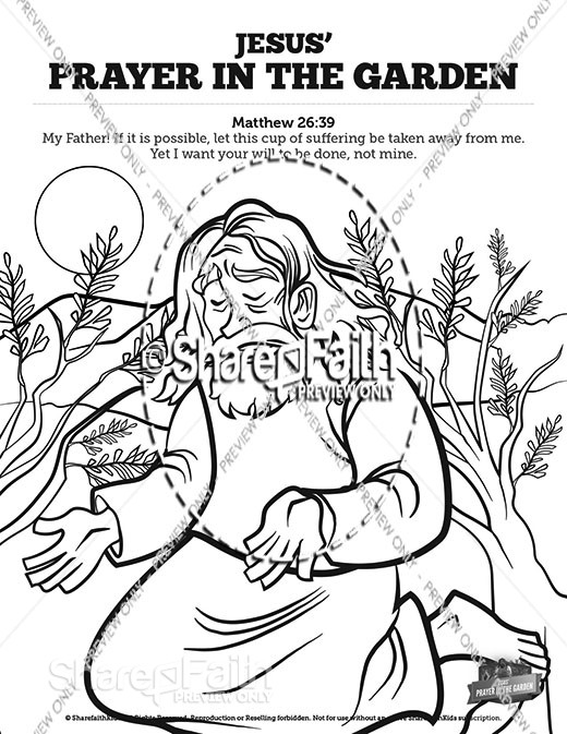 Matthew 26 Prayer in the Garden Sunday School Coloring Pages