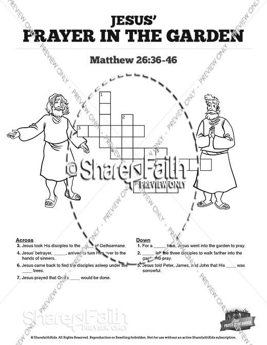 Matthew 26 Prayer in the Garden Sunday School Crossword Puzzles