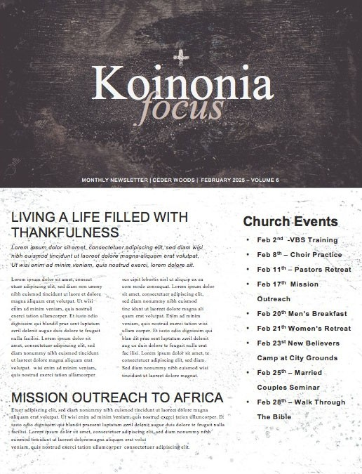 Lent Church Newsletter