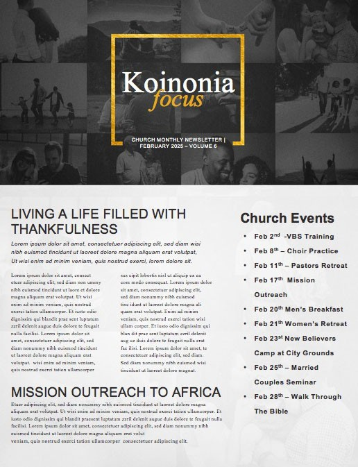 This Is Us Church Newsletter