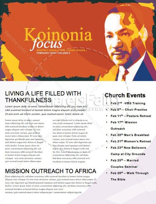 Celebrate MLK Day Church Newsletter