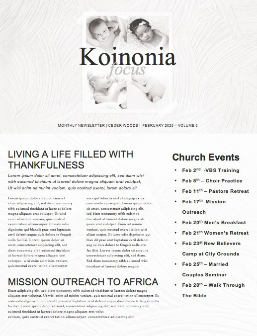 Sanctity of Life Church Newsletter