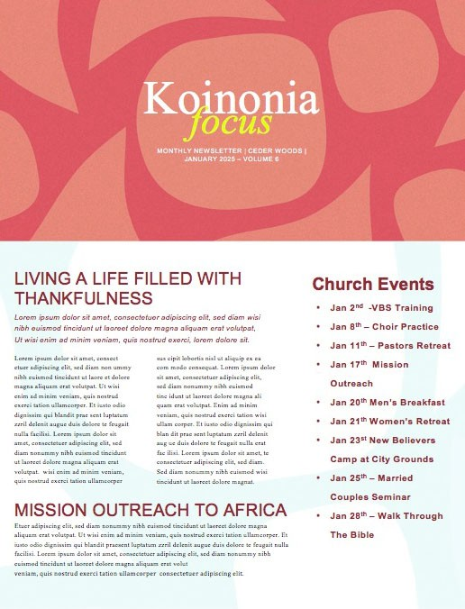 Child Dedication Church Newsletter