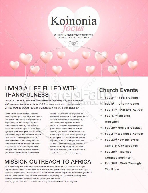 Valentine's Day Church Newsletter