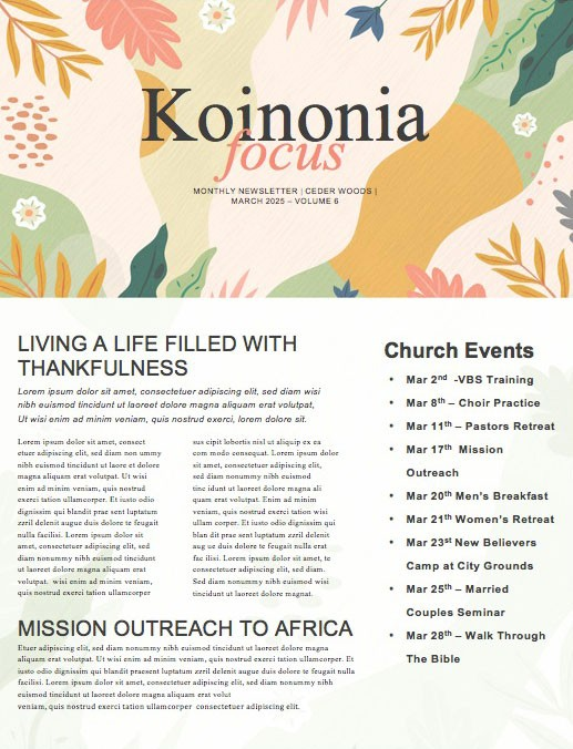 Hello Spring Church Newsletter