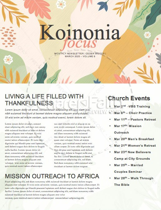 Hello Spring Church Newsletter
