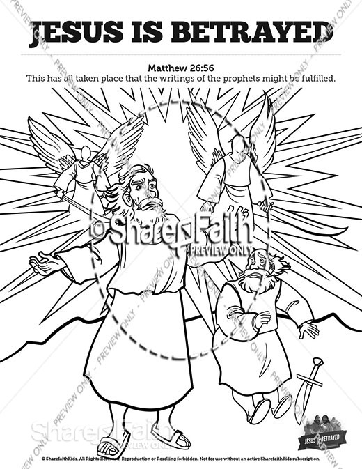 Matthew 26 Jesus is Betrayed Sunday School Coloring Pages