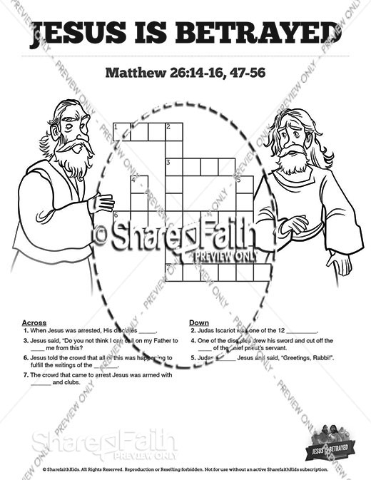 Matthew 26 Jesus is Betrayed Sunday School Crossword Puzzles