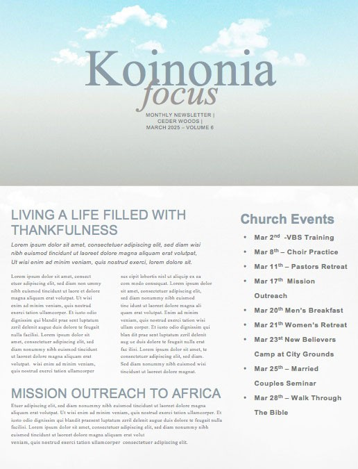 The Vow Church Newsletter