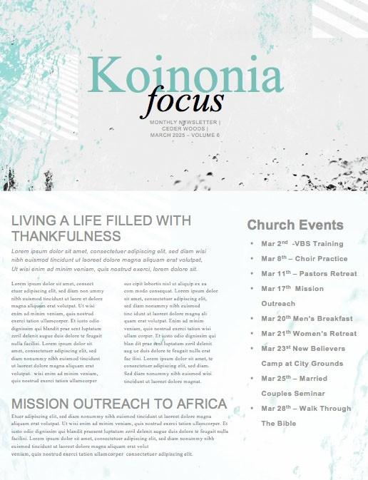 Baptism Sunday Church Newsletter Graphic